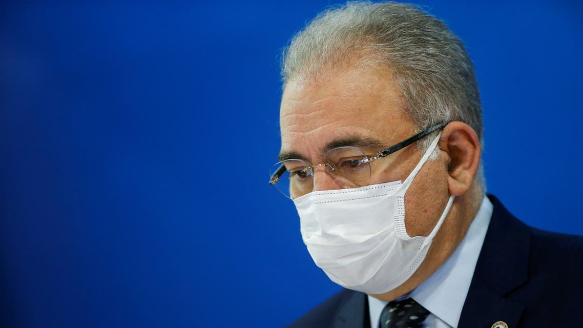 Brazil's Health Minister Marcelo Queiroga attends a news conference in Brasilia, Brazil, August 18, 2021. (Reuters)