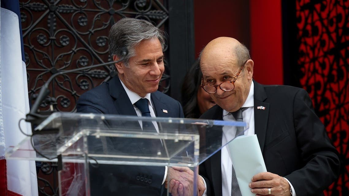 U.S. Secretary of State Antony Blinken and French Foreign Minister Jean-Yves Le Drian deliver remarks at the installation of a model of the Statue of Liberty at the French Ambassador?s residence in Washington D.C., U.S., July 14, 2021. (Reuters)