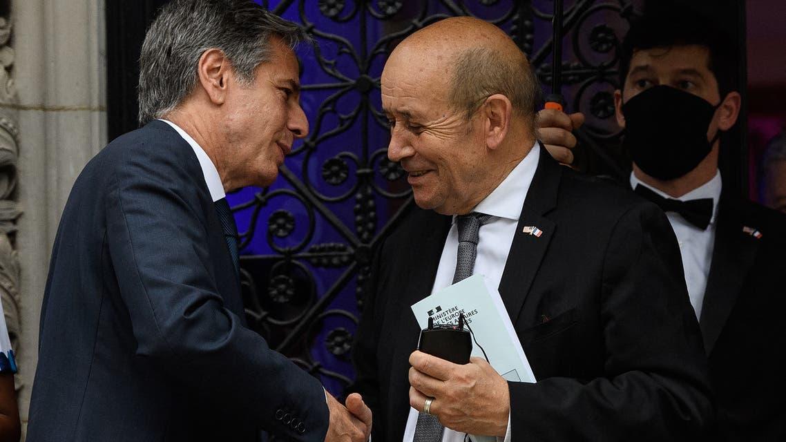 وزير خارجية أميركيا أنتوني بلينكن وفرنسا جان إيف لو دريان (أرشيفية- فرانس برس)