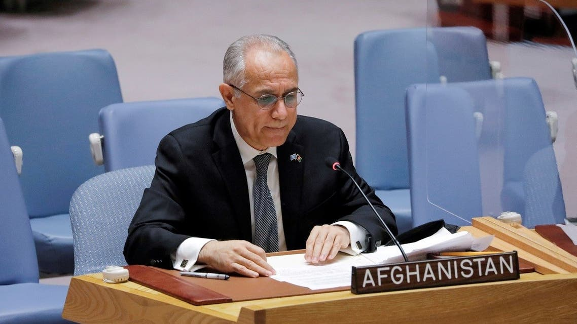 Afghanistan's UN ambassador Ghulam Isaczai addresses the United Nations Security Council, Aug. 16, 2021. (Reuters)