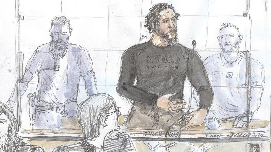 """This file court sketch made on June 25, 2020, at the Paris courthouse shows French extremist also called ISIS """"emir"""" Tyler Vilus speaking during the opening of his trial. (Benoit Peyrucq/AFP)"""