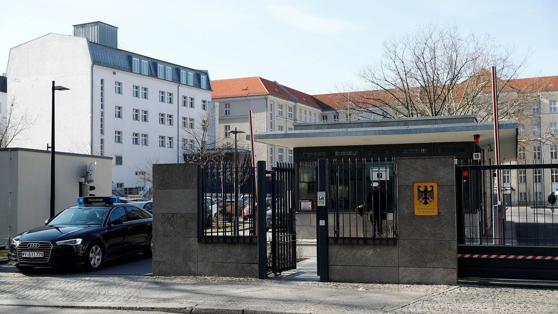 The main entrance of the German Defence Ministry is pictured in Berlin, Germany, March 1, 2018. (Reuters/Fabrizio Bensch)
