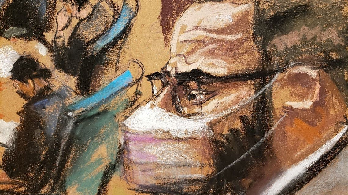 R. Kelly attends his sex abuse trial at Brooklyn's Federal District Court in a courtroom sketch in New York, U.S., September 20, 2021.  (Reuters)