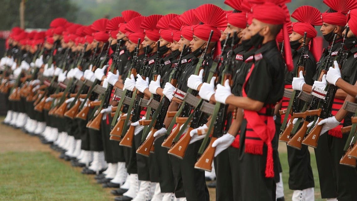 Indian Army Jammu and Kashmir Light Infantry Regiment (JAKLI) newly raised soldiers participate in a graduation parade on the outskirts of Jammu, India, Sept. 18, 2021. (AP)