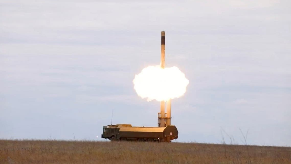 The Bastion coastal missile system of the Black Sea Fleet launches a missile against sea targets during the exercise at the Opuk training ground in Crimea, in this still image taken from video released on September 23, 2021. (Reuters)