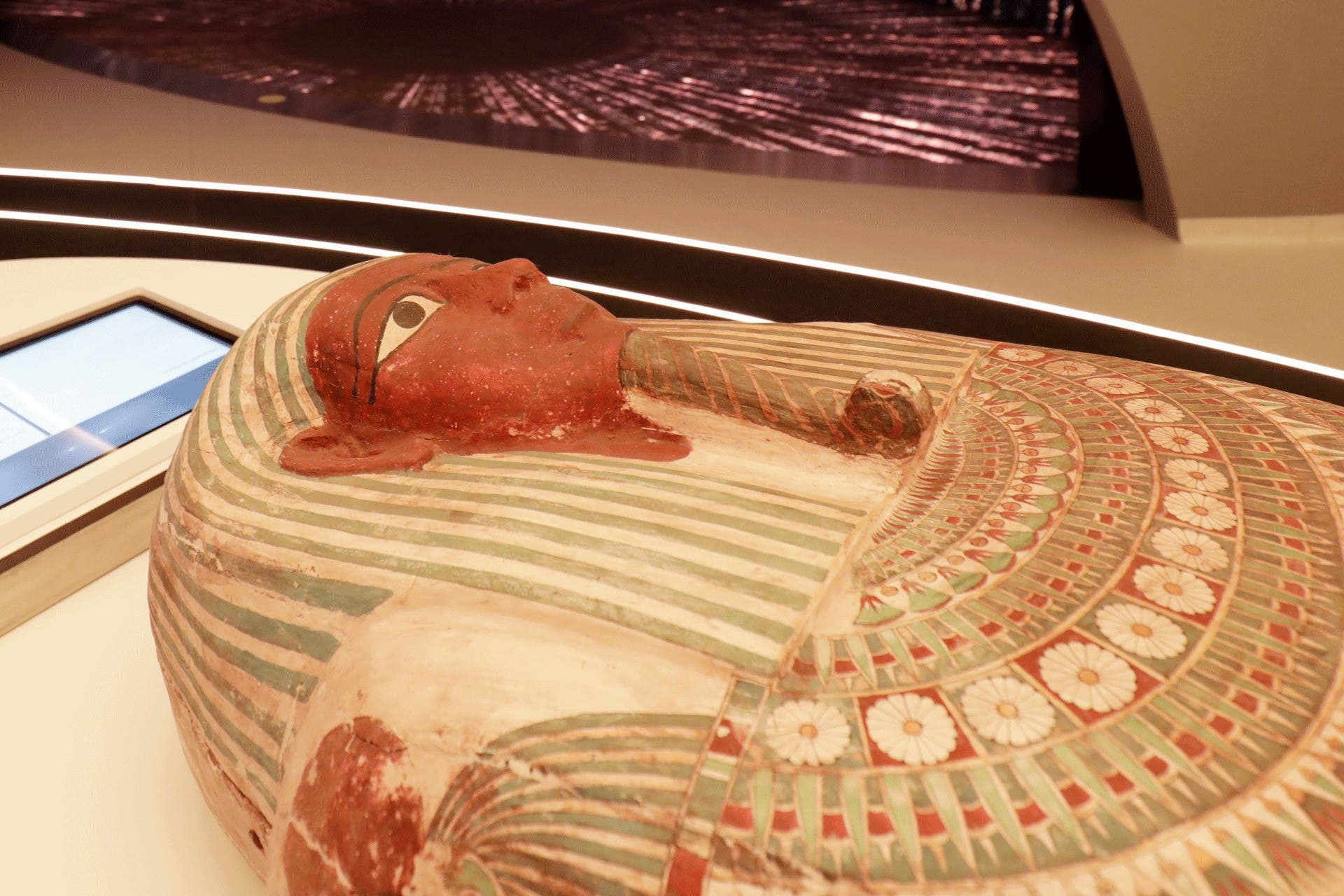 An ancient pharaonic coffin arrives at the Egypt Pavilion ahead of Dubai Expo 2020. (Supplied)