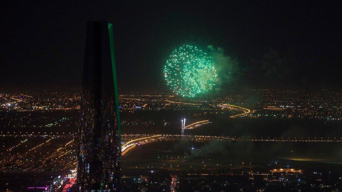 Fireworks are seen above Riyadh as the Kingdom celebrates Saudi Arabia's 89th National Day in 2019. (File photo: SPA)