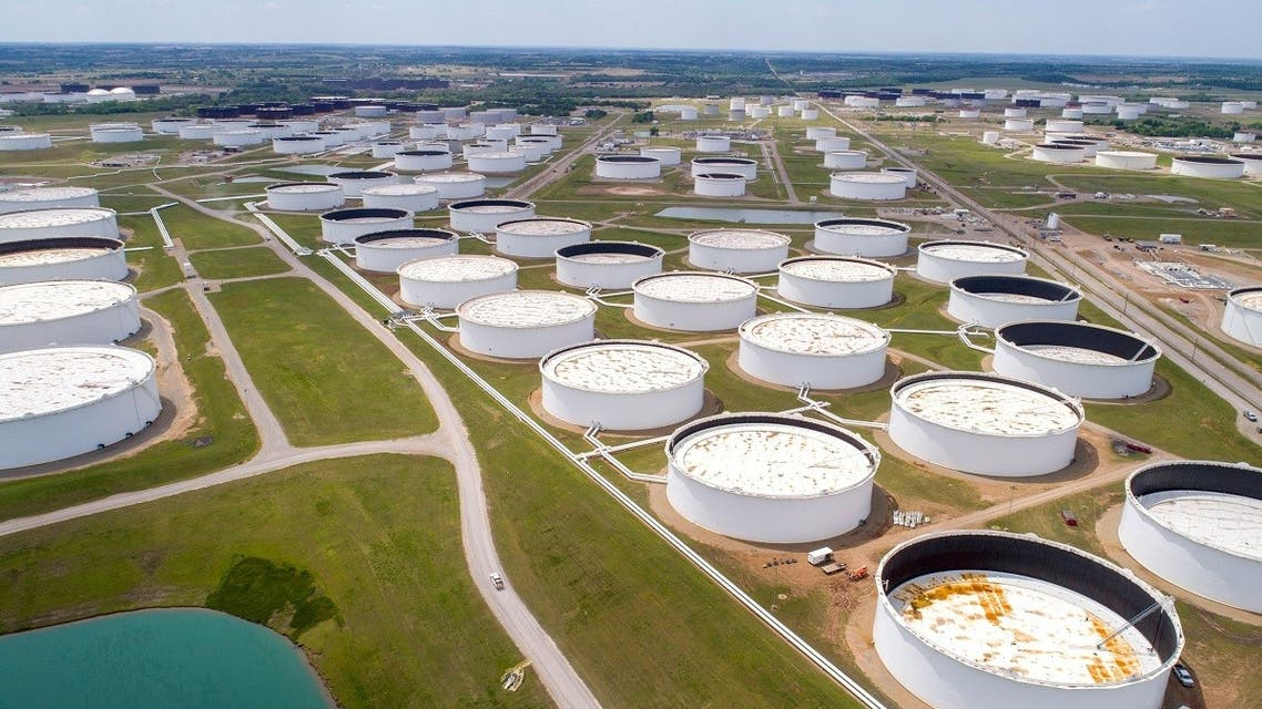 Crude oil storage tanks are seen in an aerial photograph at the Cushing oil hub in Cushing, Oklahoma, US. (Reuters)