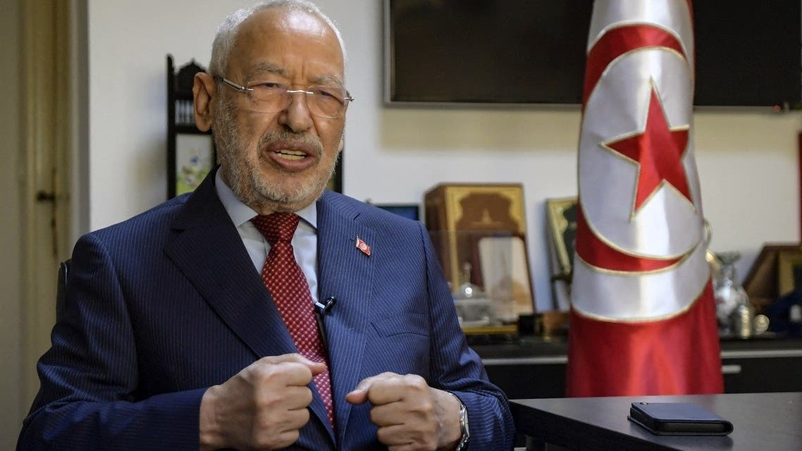 Tunisia's parliament speaker and Ennahdha party leader Rached Ghannouchi speaks during an interview with AFP, Sept. 23, 2021. (AFP)