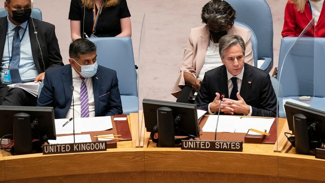 Secretary of State Antony Blinken speaks alongside Tariq Ahmad, UK minister of state for the commonwealth and development, at the UN headquarters, Sept. 23, 2021. (AP)