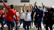 Singing and dancing by staff as South Africa's national airline returns to the skies