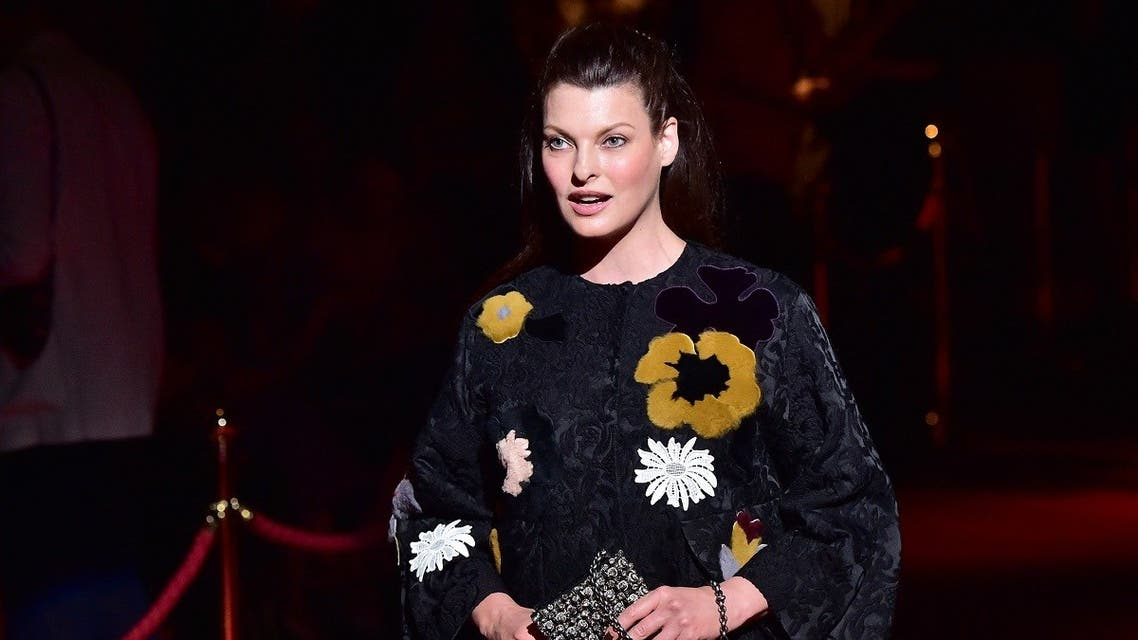 In this file photo taken on September 21, 2014, Canadian model Linda Evangelista attends the Dolce & Gabbana collection show during the 2015 Spring / Summer Milan Fashion Week in Milan. (AFP)
