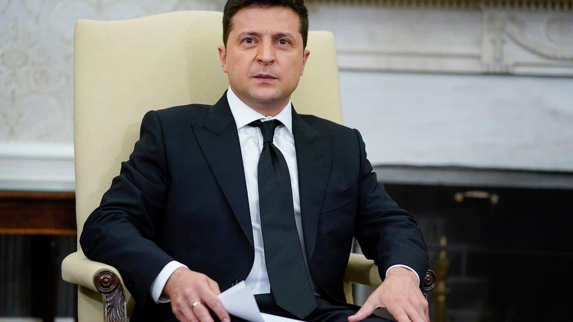 Ukrainian President Volodymyr Zelenskyy in the Oval Office of the White House, on Sept. 1, 2021, in Washington. (AP)