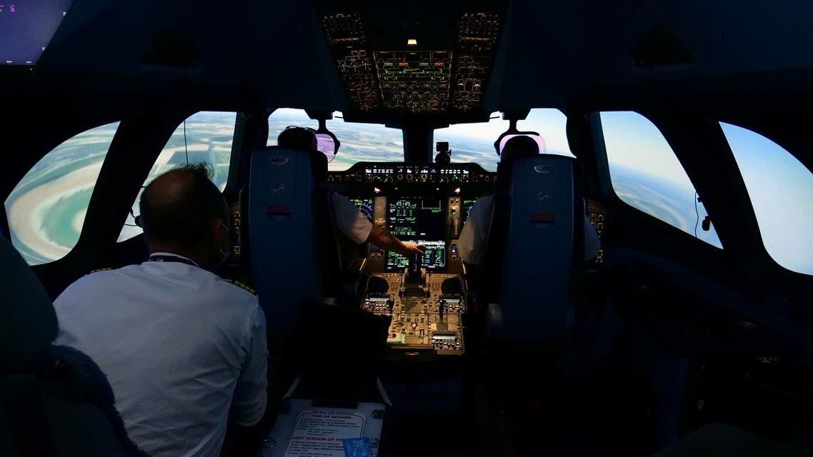 Air France pilots train in an Airbus A350 flight simulator at an Air France training centre near Charles de Gaulle airport in Paris. (Reuters)