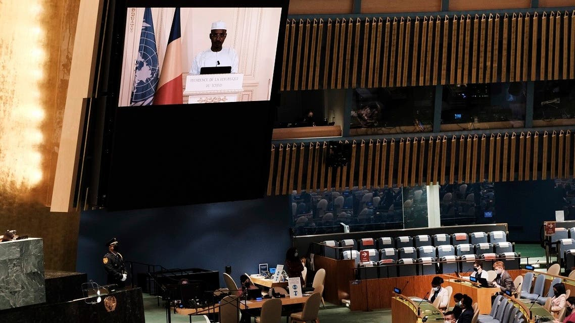 President of Chad Mahamat Idriss Déby Itno delivers a pre-recorded address at the UN General Assembly, Sept. 23, 2021. (AP)