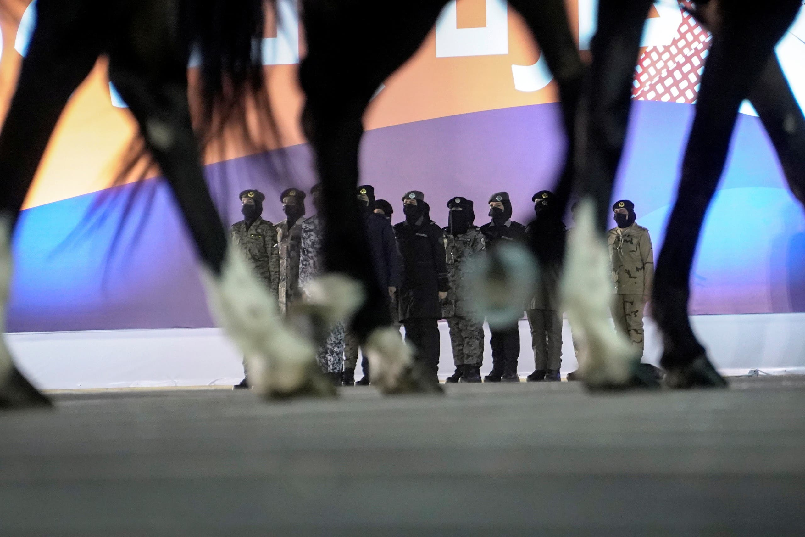 Members of a female military unit participate in a celebratory march past during the Saudi National Day celebrations in Riyadh, Saudi Arabia, September 23, 2021. (Reuters)
