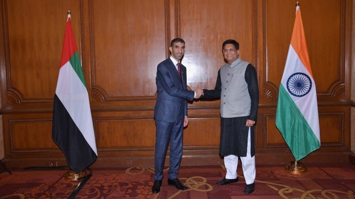 Dr. Thani bin Ahmed Al Zeyoudi, the UAE Minister of State for Foreign Trade, with Piyush Goyal, India's Minister of Commerce and Industry, in New Delhi, India. (Courtesy: WAM)