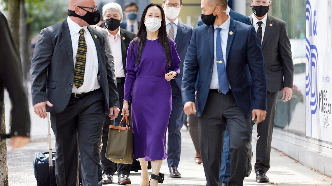 Huawei Technologies CFO Meng Wanzhou returns to a court hearing, wearing an ankle monitor, in Vancouver, Canada, Aug. 18, 2021. (Reuters)