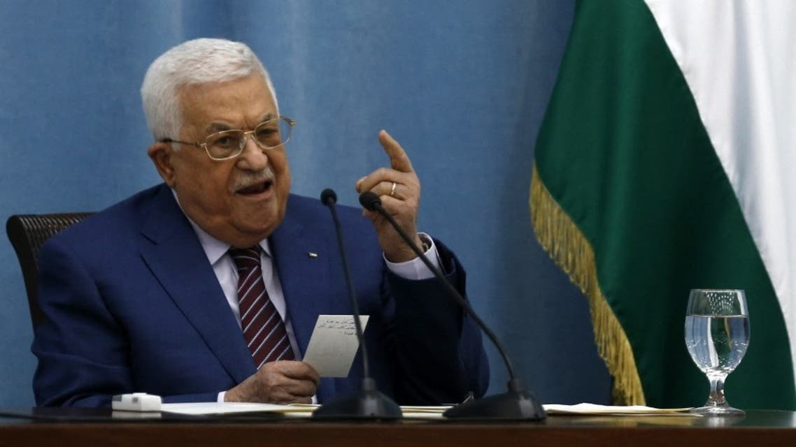 Palestinian President Mahmoud Abbas speaks during an emergency meeting of the Fatah Central Committee and the PLO Executive Committee in the occupied West Bank City of Ramallah, on May 12, 2021. (AFP)
