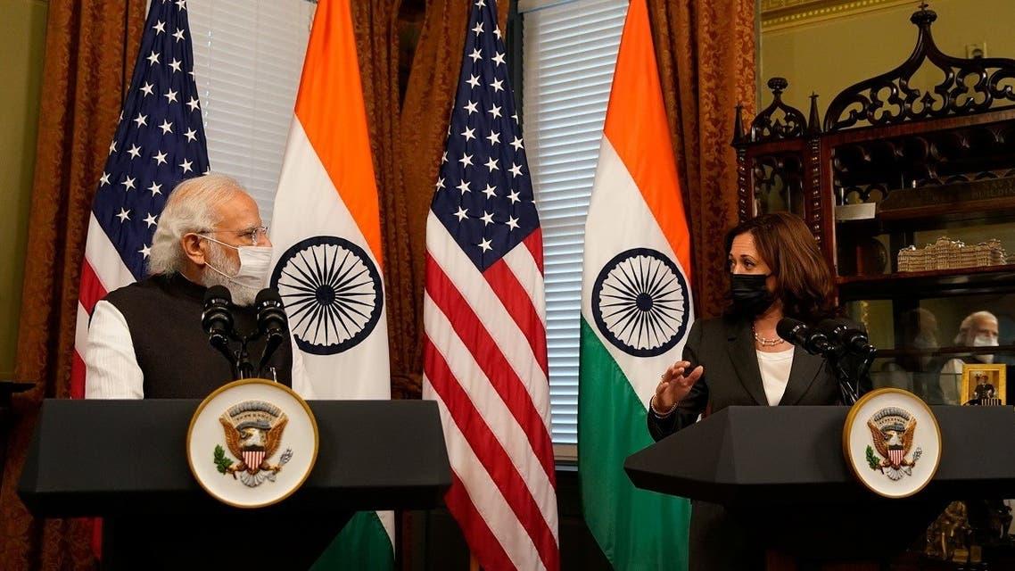 US VP Kamala Harris delivers remarks beside Indian PM Narendra Modi in Washington, Sept. 23, 2021. (Reuters)
