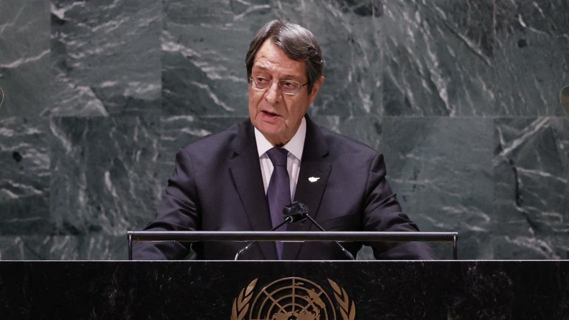Cyprus' President Nicos Anastasiades addresses the 76th session of the United Nations General Assembly at UN headquarters on September 24, 2021 in New York. (AFP)