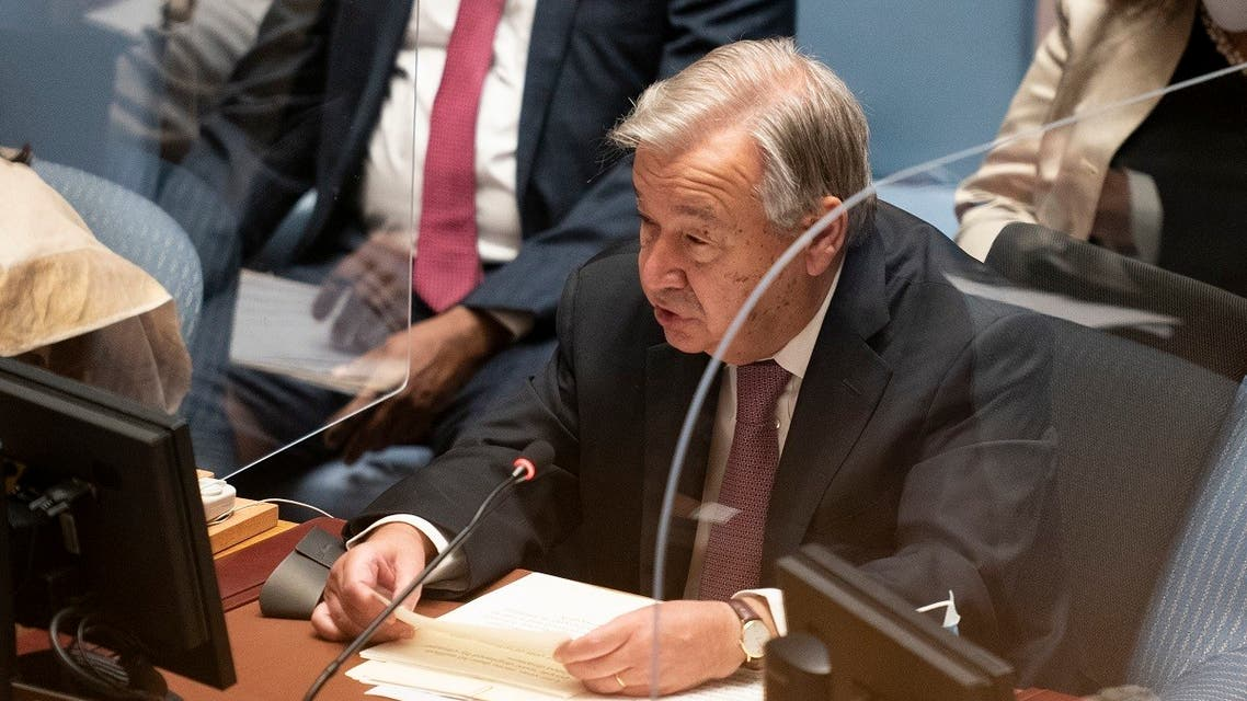 Antonio Guterres, Secretary-General of the United Nations, speaks during a meeting of the United Nations Security Council, held during the 76th Session of the UN General Assembly on September 23, 2021 in New York. (AFP)