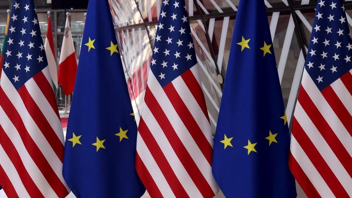 This pictures shows flags prior to an EU - US summit at the European Union headquarters in Brussels on June 15, 2021. (AFP)