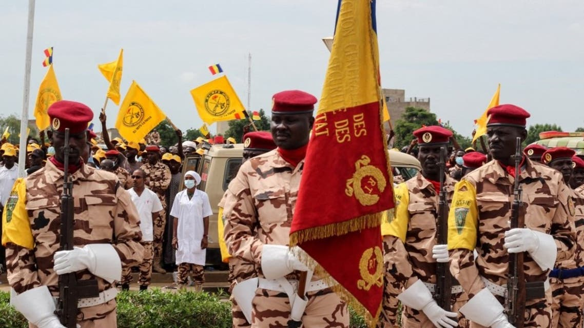 Soldiers of the Chadian army take part in a military parade to celebrate the 61th anniversary of the country's independence, in Ndjamena, on August 11, 2021. (AFP)