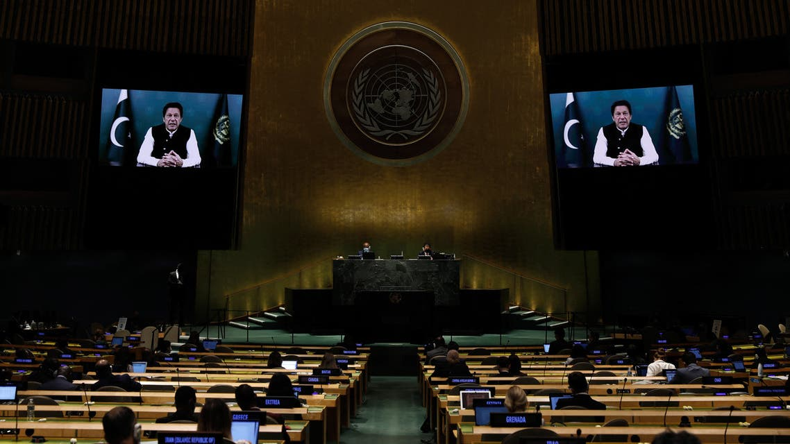Prime Minister Imran Khan from the Islamic Republic of Pakistan addresses via a prerecorded video the General Debate during the 76th Session of the U.N. General Assembly at U.N. headquarters on September 24, 2021 in New York City. (AFP)
