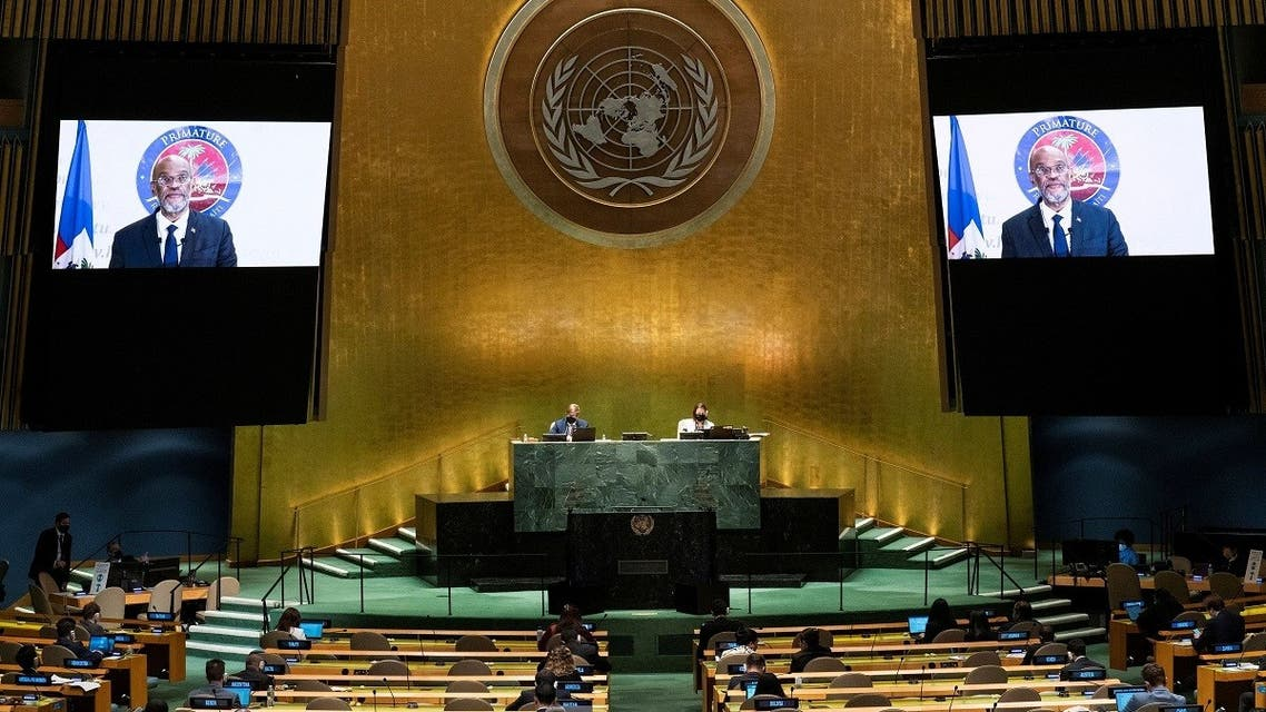 Haiti's Prime Minister Ariel Henry remotely addresses the 76th Session of the UN General Assembly by pre-recorded video, Sept. 25, 2021. (Reuters)