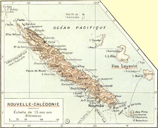 صورة لخريطة كاليدونيا الجديدة