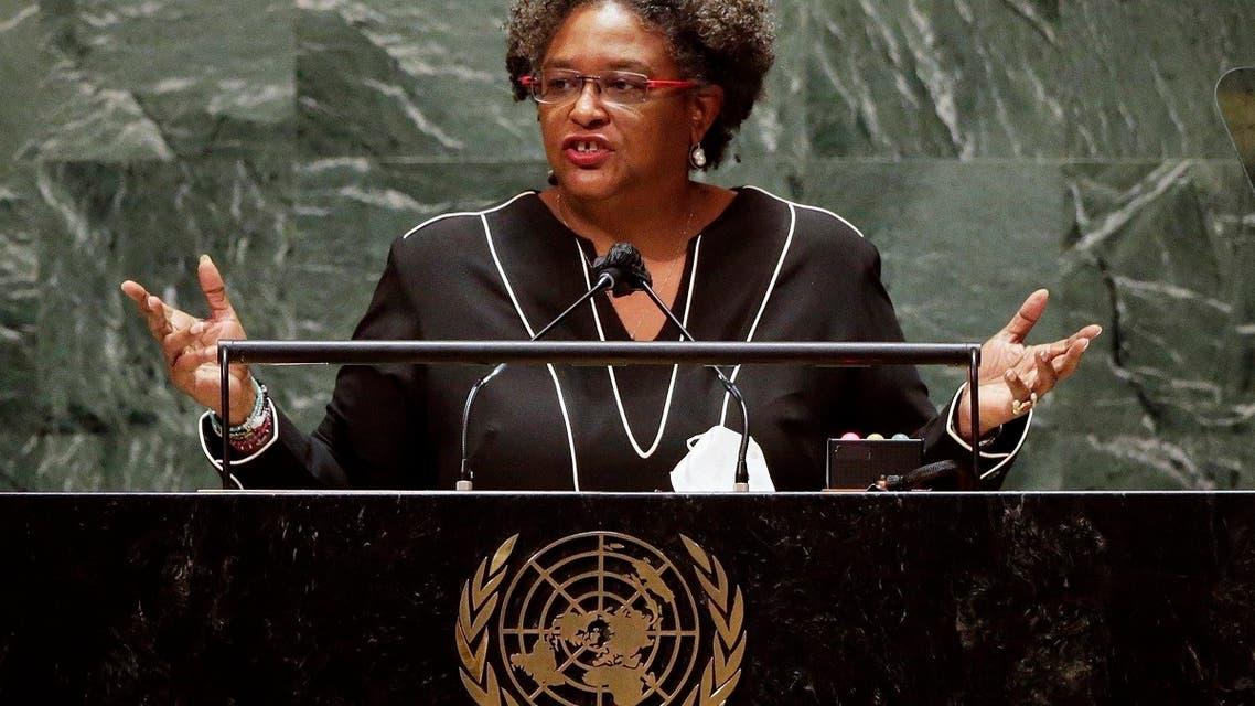 Prime Minister of Barbados Mia Amor Mottley addresses the UNGA, Sept. 24, 2021. (AFP)