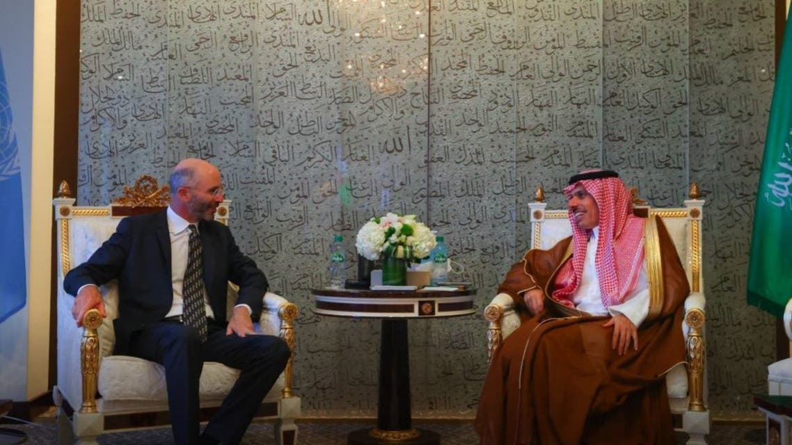 Saudi Arabia's Foreign Minister Prince Faisal bin Farhan met with US special envoy for Iran Robert Malley on the sidelines of the UN General Assembly. (Twitter/KSAMOFA)
