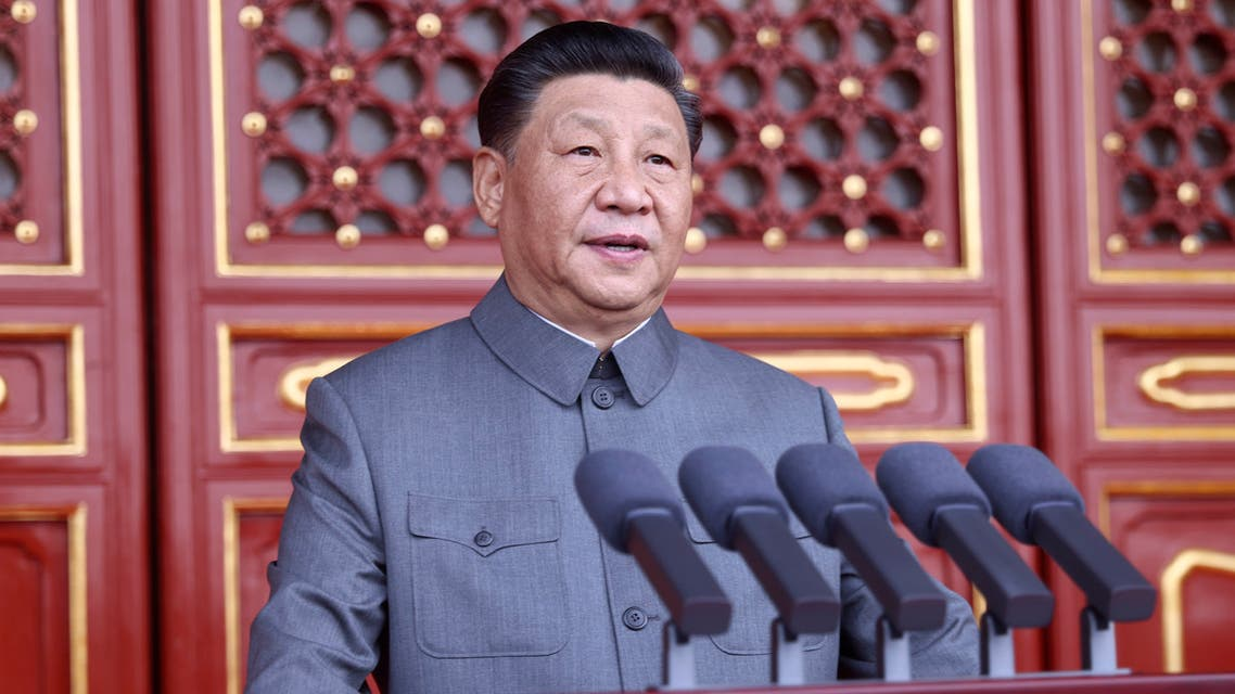 In this photo provided by China's Xinhua News Agency, Chinese President and party leader Xi Jinping delivers a speech at a ceremony marking the centenary of the ruling Communist Party in Beijing, China, Thursday, July 1, 2021. (AP)