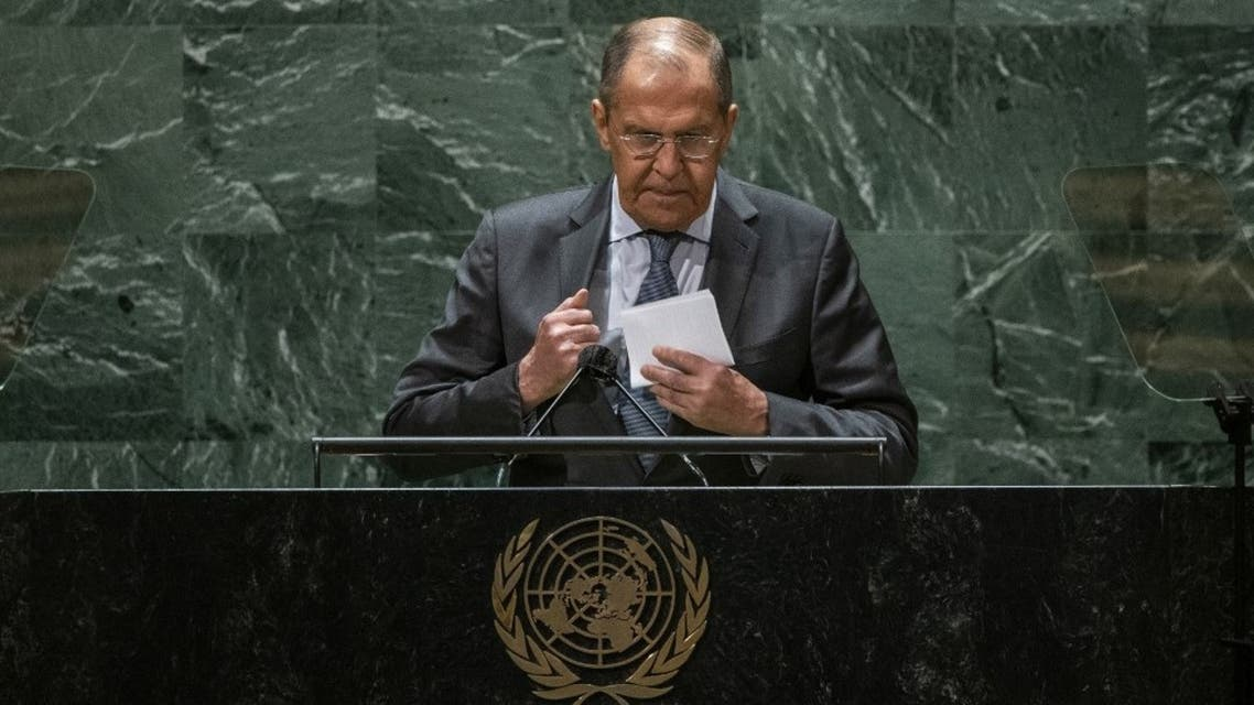 Foreign Minister of Russia Sergey Lavrov collects his notes after addressing the 76th Session of the U.N. General Assembly at U.N. headquarters on September 25, 2021 in New York City. (AFP)