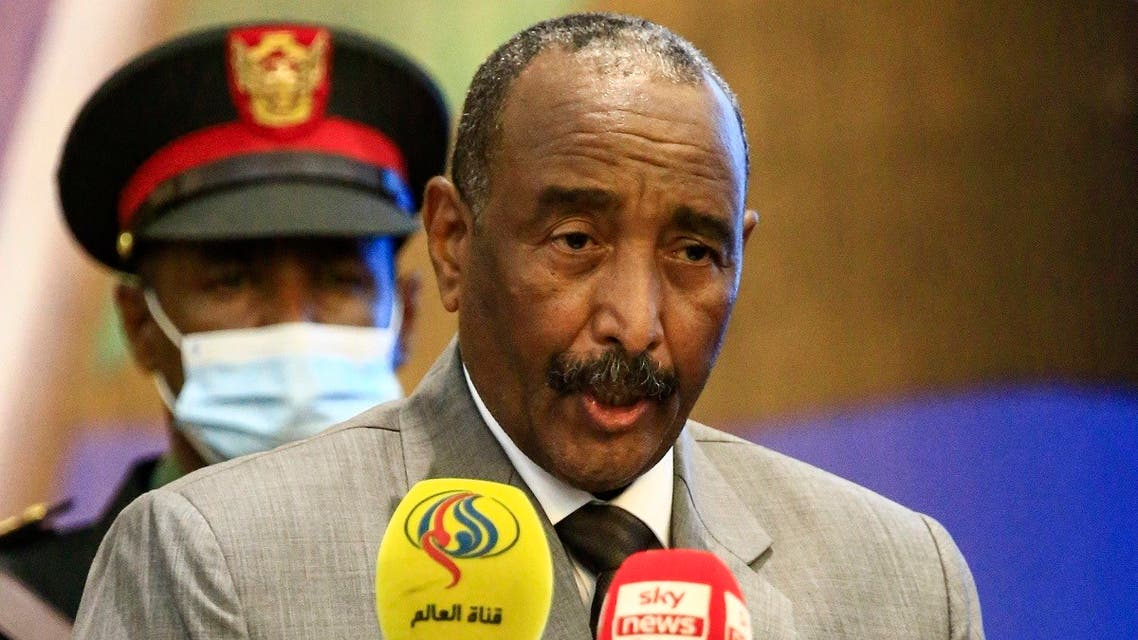 In this file photo taken on September 26, 2020, Sudan's Sovereign Council chief General Abdel Fattah al-Burhan speaks during the opening session of the First National Economic Conference in the capital Khartoum. (AFP)