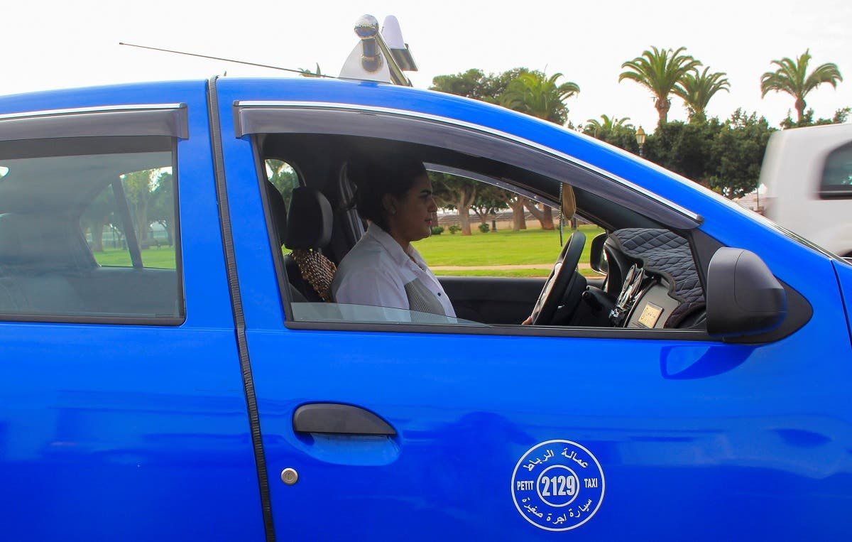 Female taxi driver Souad Hdidou, 33, drives her taxi in Rabat, Morocco September 23, 2021. (Reuters)