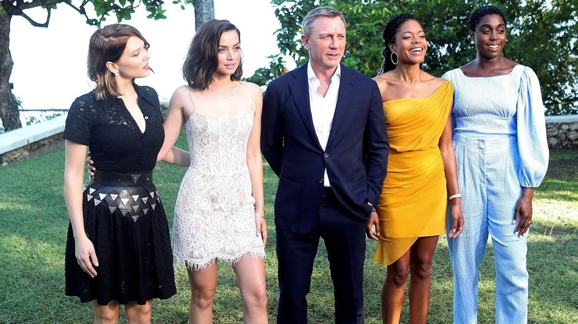 Actors Lea Seydoux, Ana de Armas, Daniel Craig, Naomie Harris and Lashana Lynch pose for a picture during a photocall for the British spy franchise's 25th film set for release next year, titled Bond 25 in Oracabessa, Jamaica April 25, 2019. (Reuters)