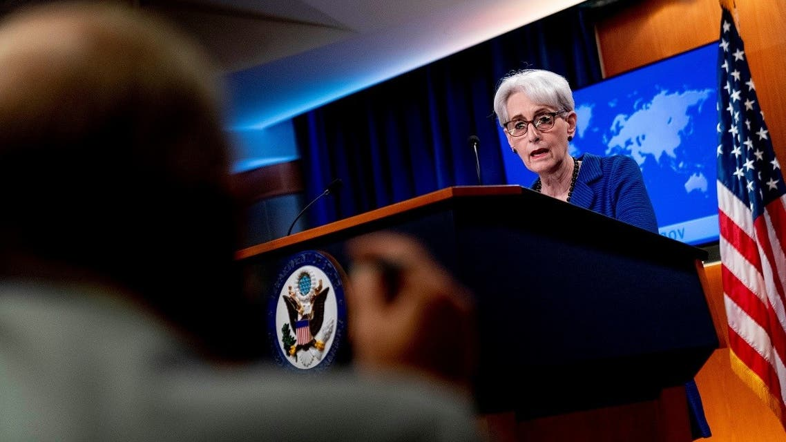 Deputy Secretary of State Wendy Sherman speaks to reporters on the situation in Afghanistan at the State Department, Aug. 18, 2021. (Reuters)