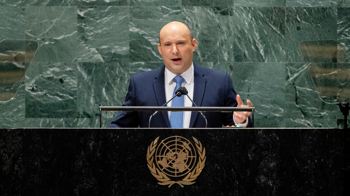 Israel's prime minister Naftali Bennett addresses the 76th Session of the United Nations General Assembly, on September 27, 2021, at UN headquarters in New York. (AFP)