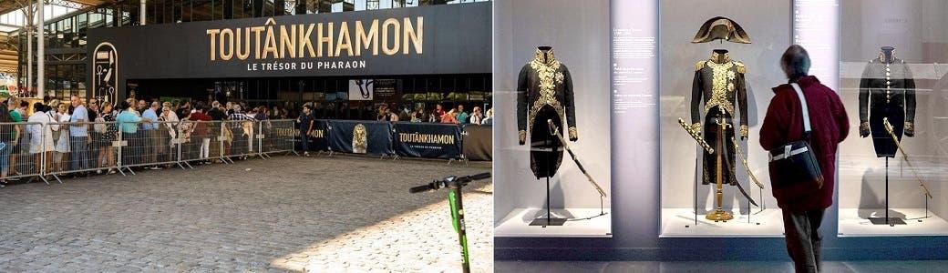 شخص واحد يتأمل بعض المعروضات في  المعرض الأخير عن نابليون، وفي الصورة الثانية مئات ينتظرون دورهم لزيارة معرض توت عنخ أمون في 2019 بباريس