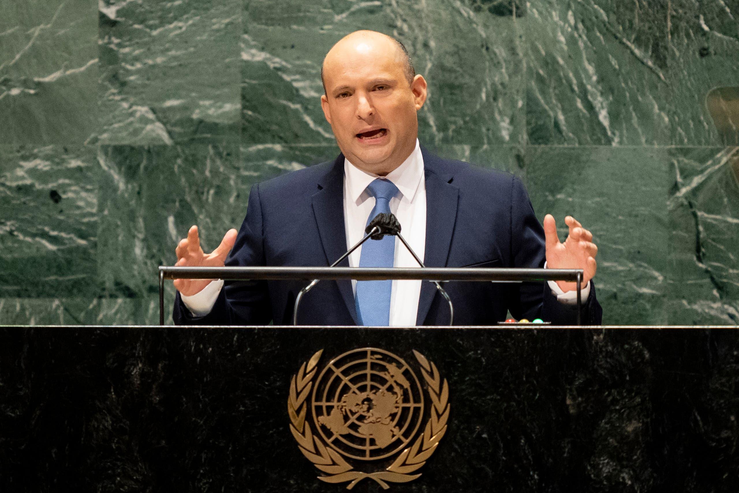 نفتالي بينيت متحدثاً في الأمم المتحدة (27 سبتمبر 2021 من فرانس برس)