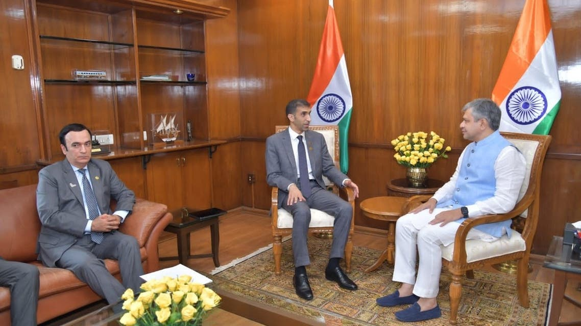 Dr. Thani bin Ahmed Al Zeyoudi, the UAE Minister of State for Foreign Trade, with Ashwini Vaishnaw, Minister of Electronics and Information Technology, in New Delhi, India. (Courtesy: WAM)