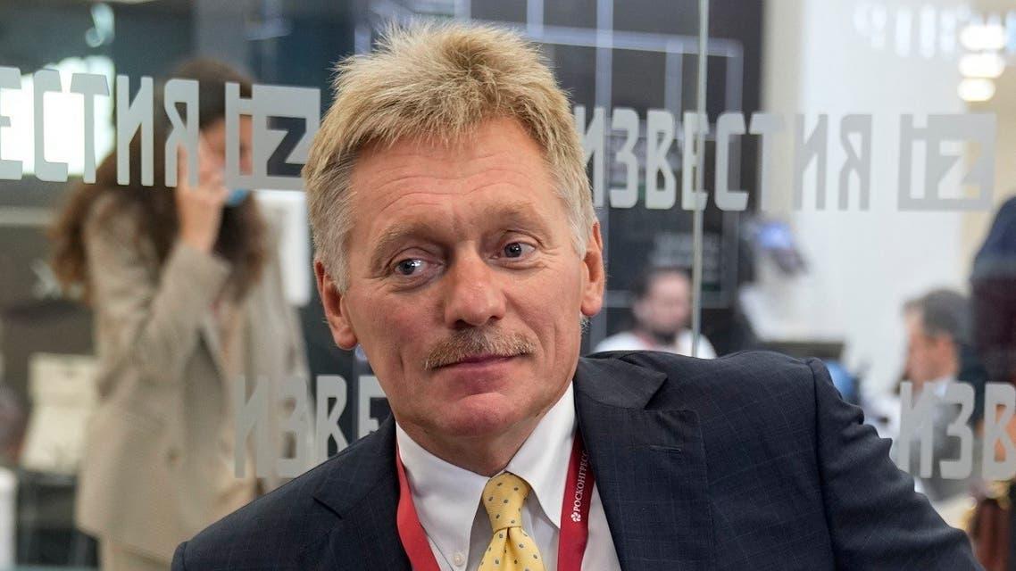 "Kremlin spokesman Dmitry Peskov prepares for an interview with Russian TV channel ""Izvestia"" on the side of the Eastern Economic Forum in Vladivostok on September 2, 2021. (Alexander Zemlianichenko/Pool/AFP)"