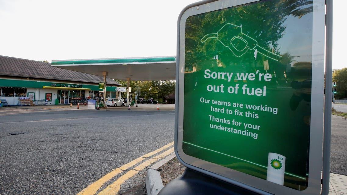 A BP petrol station that has run out of fuel is seen in Hemel Hempstead, Britain, September 26, 2021. (Reuters)
