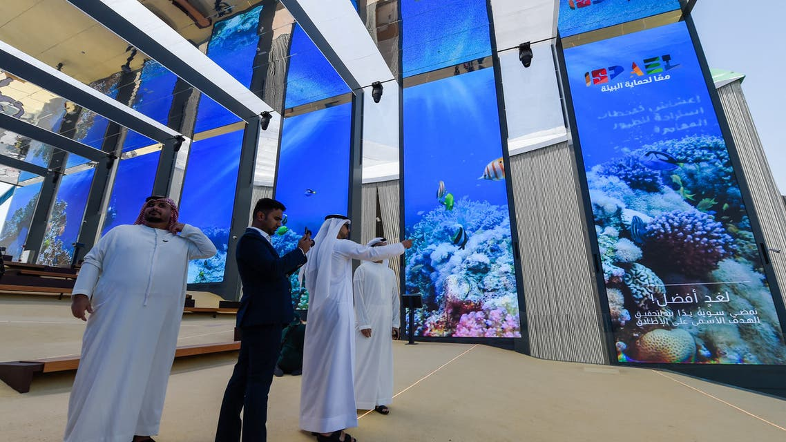 Visitors are pictured in the Israel pavilion during a media tour ahead of the opening of the Dubai Expo 2020 in the Gulf Emirate on September 27, 2021. (AFP)