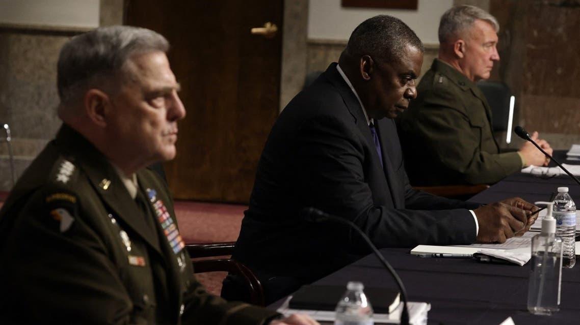 Secretary of Defense Lloyd Austin (C) Chairman of the Joint Chiefs of Staff Gen. Mark Milley (L) and CENTCOM Gen. Kenneth McKenzie (R) testify Sept. 28, 2021. (AFP)