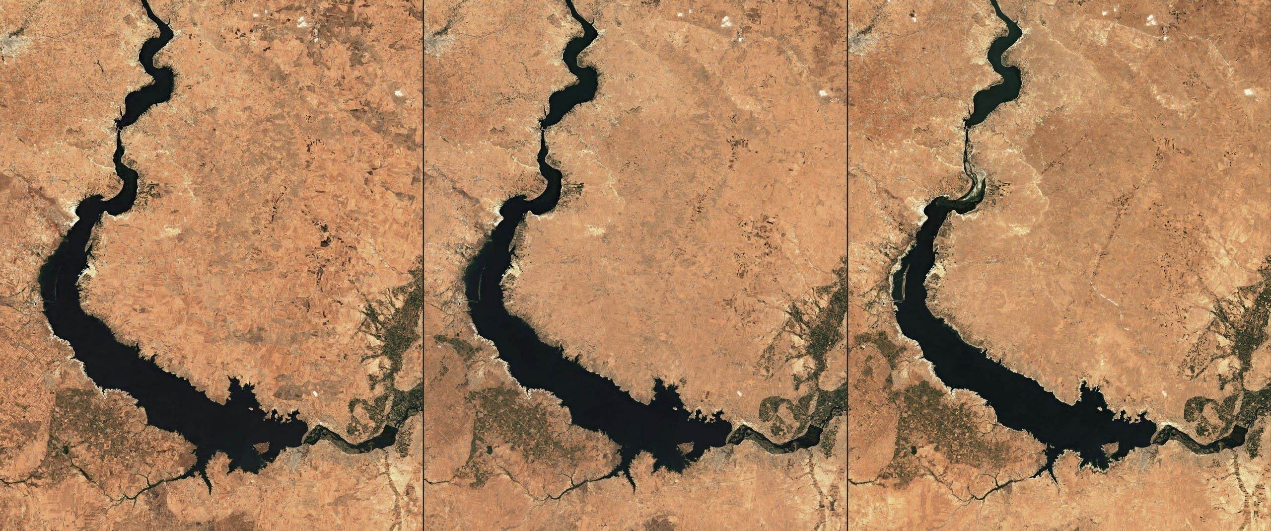 تدفق نهر الفرات في اغسطس من الأعوام 2019 و2020 و2021