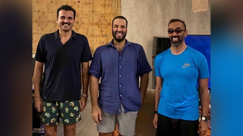 (From left to right): Sheikh Tamim bin Hamad al-Thani the Emir of Qatar, Saudi Crown Prince Mohammad Bin Salman and UAE's National Security Advisor Sheikh Tahnoon bin Zayed Al Nahyan. (Twitter)