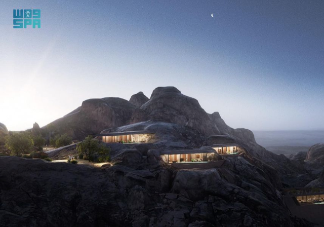 Guests will enter the resort through a hidden valley nestled between the mountains. (Supplied)